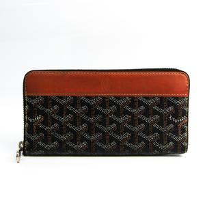 ゴヤール(Goyard) マティニヨン ユニセックス コーティングキャンバス,レザー 長財布(二つ折り) ブラック,ブラウン