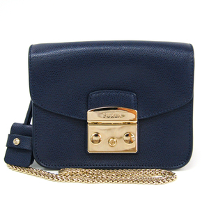 Furla Metropolis Mini Women's Leather Shoulder Bag Navy