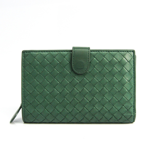 ボッテガ・ヴェネタ(Bottega Veneta) イントレチャート 121060 ユニセックス  カーフスキン 中財布(二つ折り) ダークグリーン