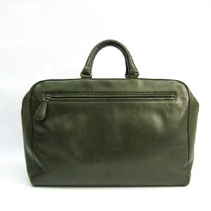 Bottega Veneta Unisex Leather Boston Bag Dark Green