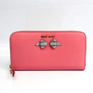 ミュウミュウ(Miu Miu) リボン 5ML506 レディース レザー 財布(二つ折り) グレー,ピンク
