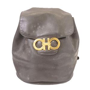 Auth Salvatore Ferragamo Gancini Women's Leather Backpack Black