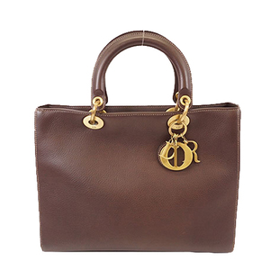 Auth Christian Dior Women's Leather Handbag Dark Brown