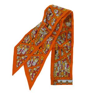 Hermes Twily Unisex Silk Scarf Orange
