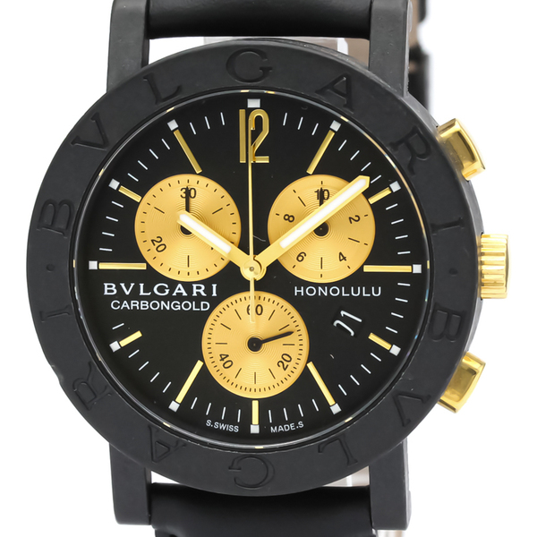 Bvlgari Quartz Carbon,Yellow Gold (18K) Unisex Sports Watch BB38CLCH