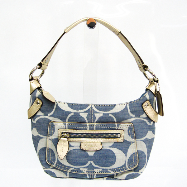 Coach Signature 13326 Women's Canvas,Leather Shoulder Bag Blue,Champagne Gold