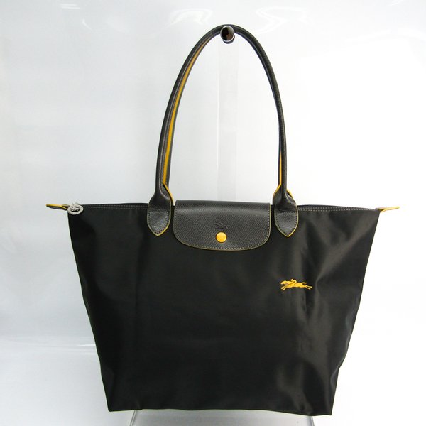 Longchamp Le Pliage CLUB 1899 619 300 Women's Leather,Nylon Tote Bag Dark Gray,Yellow