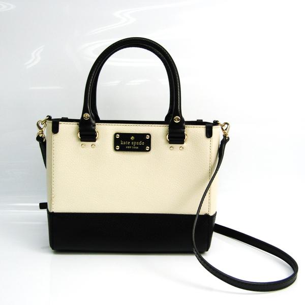 Kate Spade Small Quinn WKRU2817 Women's Leather Handbag,Shoulder Bag Black,Ivory
