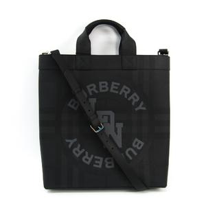 バーバリー(Burberry) LOGO GRAPHIC LONDON CHECK TOTE 8022519 メンズ レザー,コーティングキャンバス ハンドバッグ,ショルダーバッグ ブラック,ダークグレー