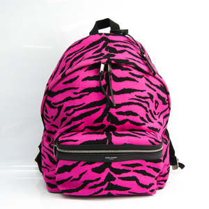 Saint Laurent CITY BACKPACK MIAMI ZEBRA 534967 Women's Canvas,Leather Backpack Black,Pink