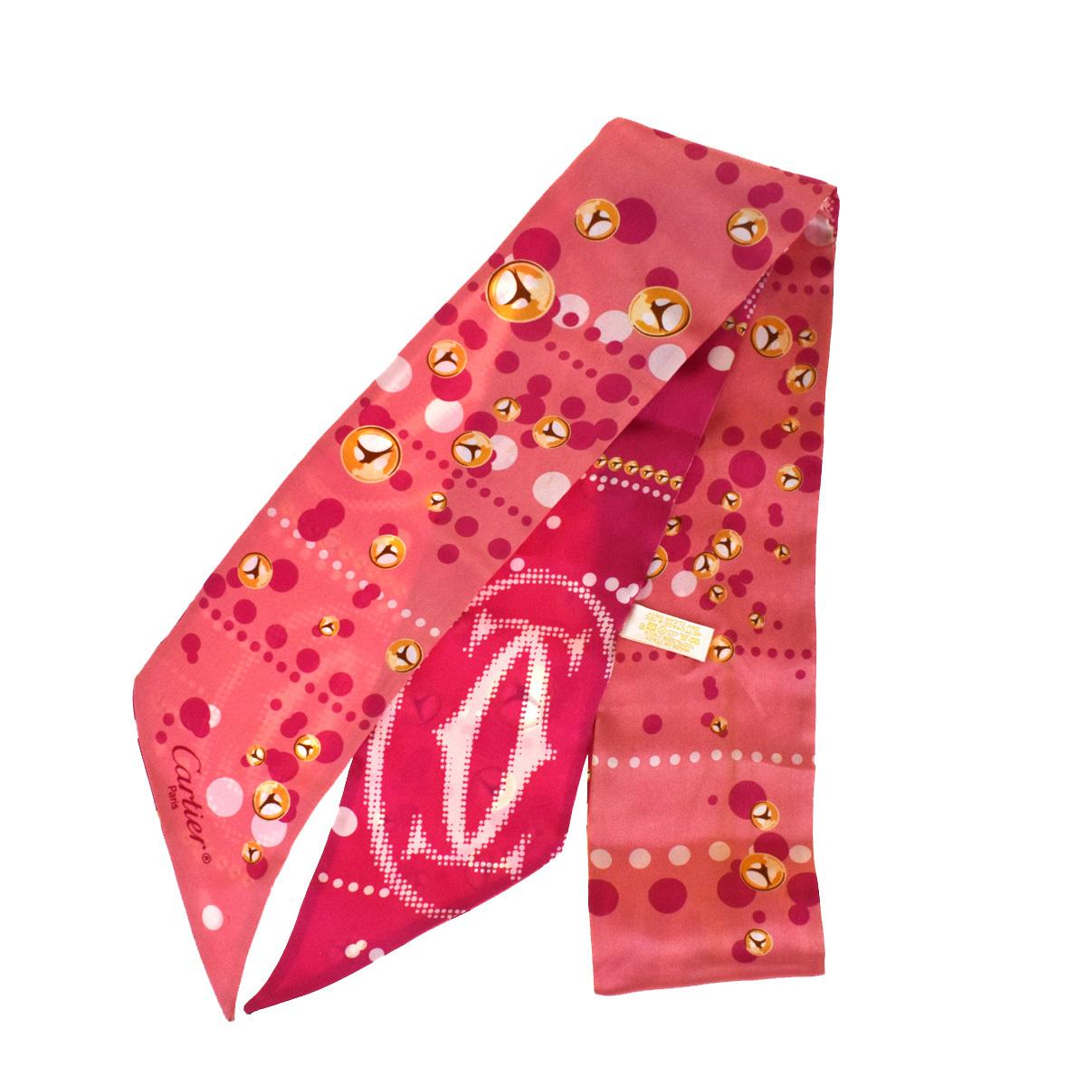 カルティエ(Cartier) 2C ロゴ レディース シルク スカーフ ピンク