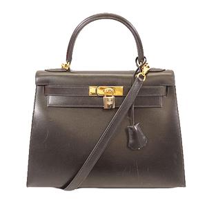 エルメス ハンドバッグ ケリー28 □D刻印 ボックスカーフ ブラック ゴールド金具