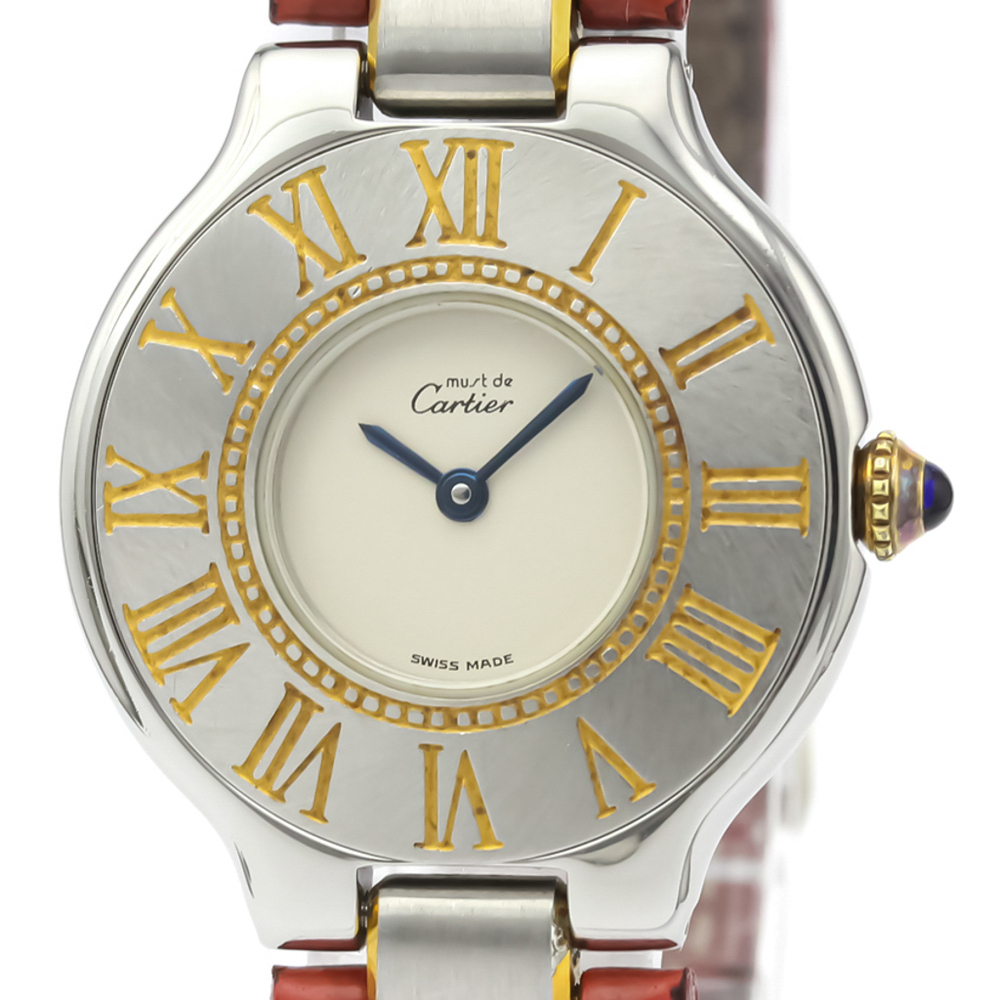 Cartier Must 21 Quartz Stainless Steel,Gold Plated Women's Dress Watch