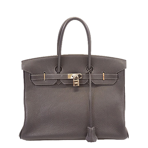 エルメス ハンドバッグ バーキン35 □I刻印 トゴ ネイビー シルバー金具
