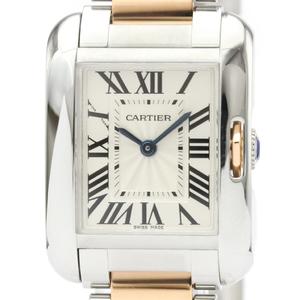 カルティエ(Cartier) タンクアングレーズ クォーツ K18ピンクゴールド(K18PG),ステンレススチール(SS) レディース ドレスウォッチ W5310019