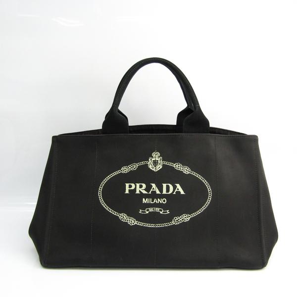 Prada Canapa Women's Canvas,Rubber Handbag Black