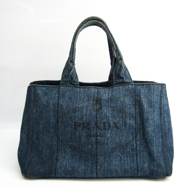 Prada Canapa Women's Denim Tote Bag Blue
