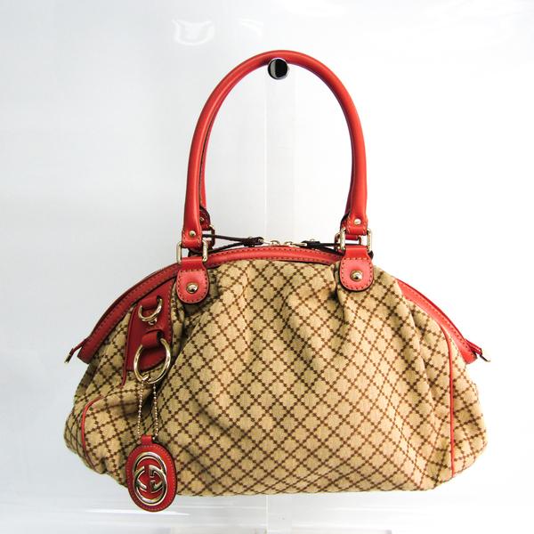 Gucci Sukey Diamante 223974 Women's GG Canvas,Leather Handbag Beige,Brown,Pink