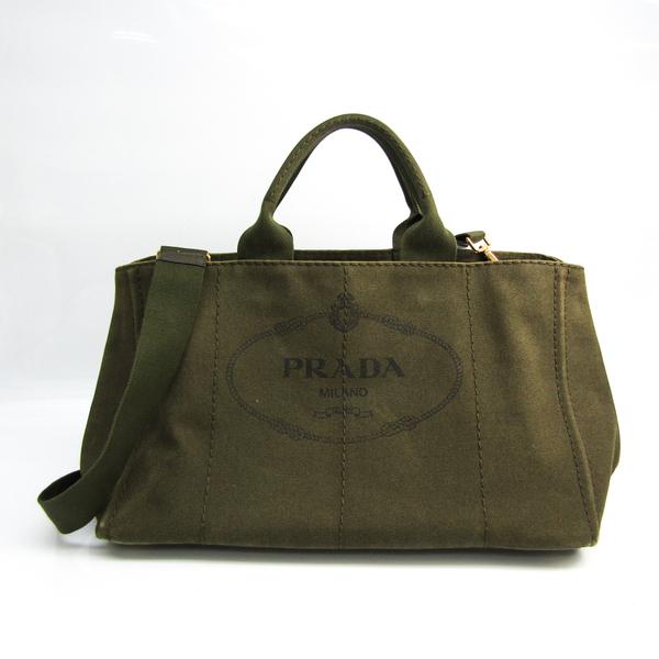 Prada Canapa Women's Canapa,Leather Handbag,Shoulder Bag Khaki