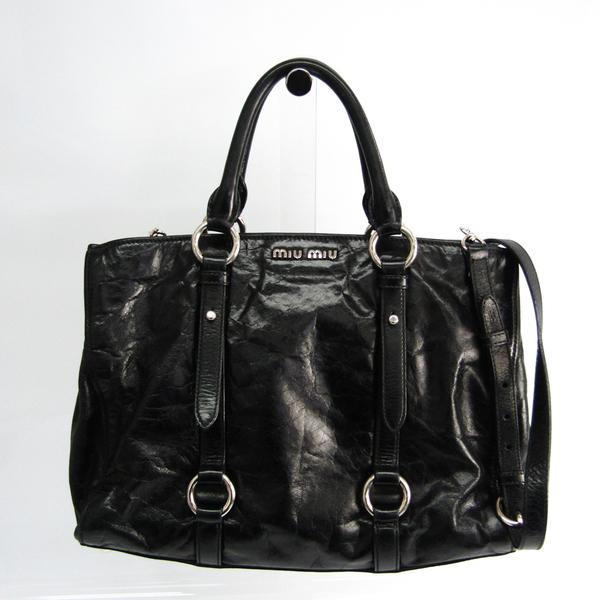 Miu Miu Women's Leather Handbag,Shoulder Bag Black