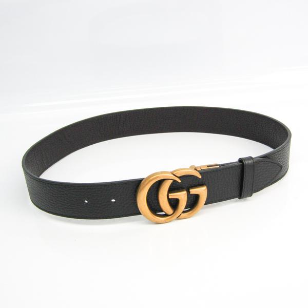 Gucci Reversible Double G 474350 Men's Leather Standard Belt Black,Dark Brown,Gold 80