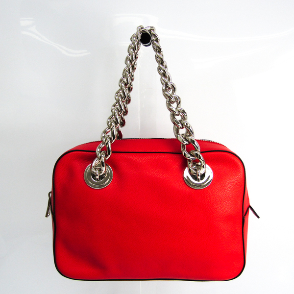 Prada Chain Women's Leather Handbag Red Color