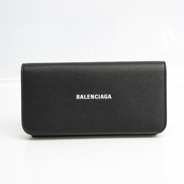 Balenciaga VILLE CONTINENTAL WALLET 594289 Unisex Leather Long Wallet (bi-fold) Black