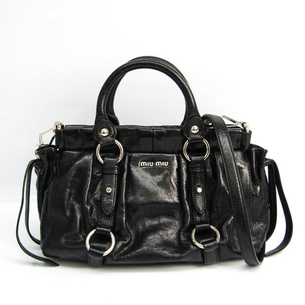 Miu Miu VITELLO LUX RN0647 Women's Leather Handbag,Shoulder Bag Black