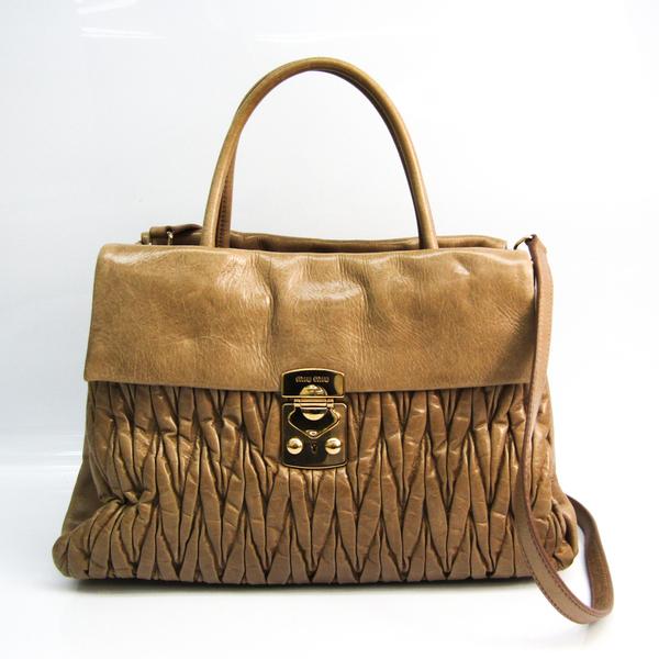 Miu Miu Matelasse Women's Leather Handbag,Shoulder Bag Beige