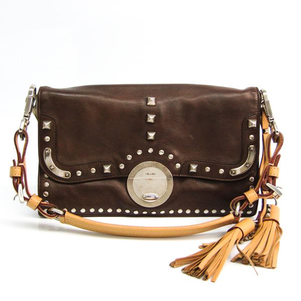 Prada Studs Women's Leather Clutch Bag,Shoulder Bag Dark Brown,Light Beige