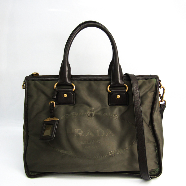 Prada Unisex Leather,Nylon Handbag,Shoulder Bag Dark Brown,Khaki