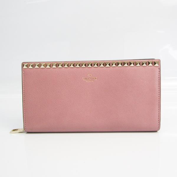 Valentino Rock Studs QW0P0R10KTQ Women's Leather Long Wallet (bi-fold) Pink Beige