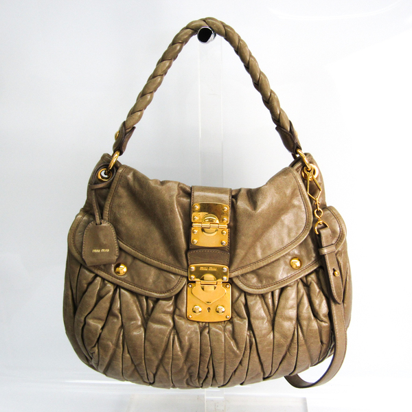 Miu Miu Matelasse Women's Leather Handbag,Shoulder Bag Gray Beige