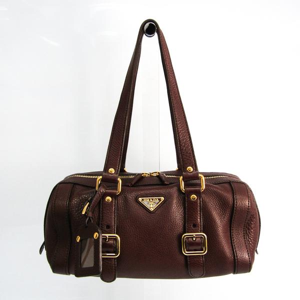 Prada Women's Leather Handbag Dark Brown