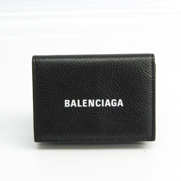 Balenciaga CASH MINI WALLET 594312 Unisex Leather Wallet (tri-fold) Black,White