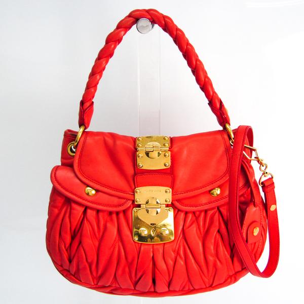 Miu Miu Matelasse Women's Leather Handbag,Shoulder Bag Pink Red