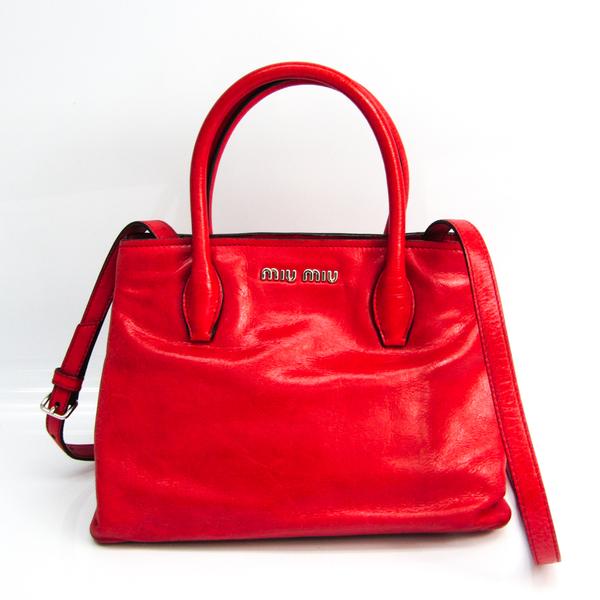 Miu Miu Women's Leather Handbag,Shoulder Bag Pink Red