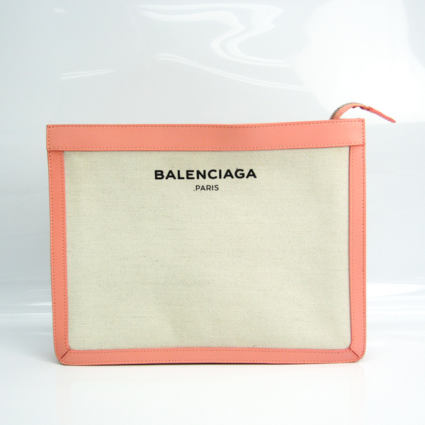 Balenciaga NAVY POUCH 410119 Women's Canvas,Leather Clutch Bag,Pouch Light Pink,Off-white