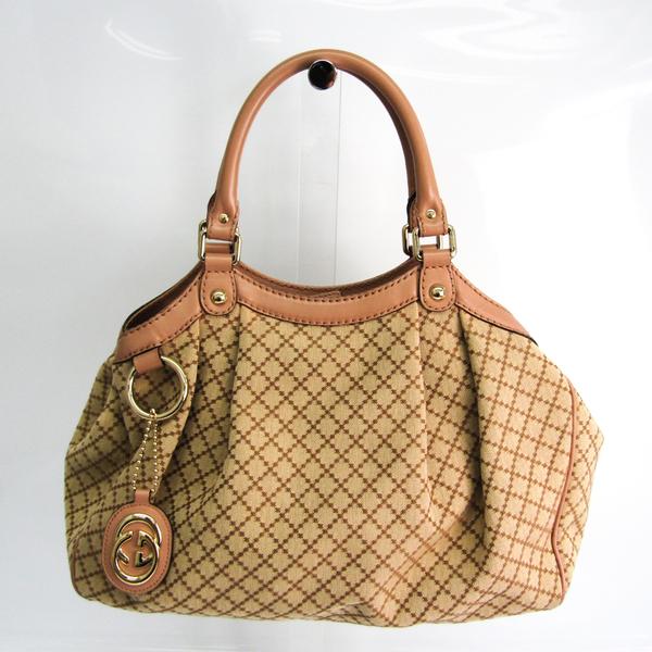 Gucci Sukey 211944 Women's Leather,GG Canvas Handbag Beige,Brown,Pink Beige