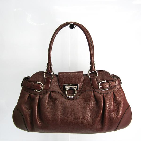 Salvatore Ferragamo Gancini AB-21 5370 Women's Leather Handbag Dark Brown