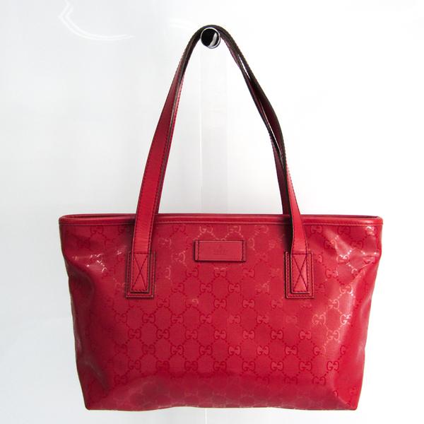 Gucci GG Imprimé 211138 Women's PVC,Leather Handbag Pink Red