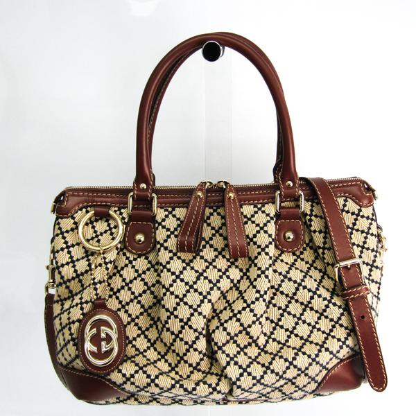 Gucci Sukey 247902 Women's Leather,GG Canvas Handbag,Shoulder Bag Beige,Dark Brown,Navy