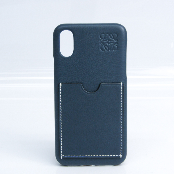 Loewe Leather Phone Skin For IPhone X Navy Anagram logo