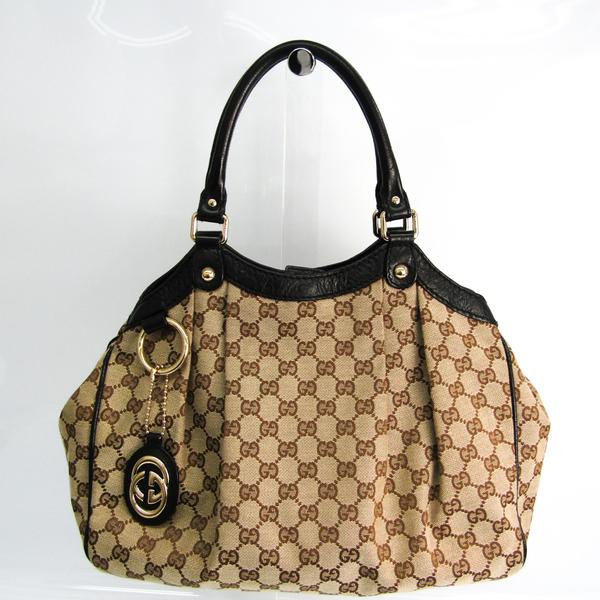 Gucci Sukey 211944 Women's Leather,GG Canvas Handbag Beige,Black,Brown