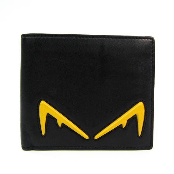 Fendi BAG BUGS 7M0169 Unisex Leather Bill Wallet (bi-fold) Black,Yellow