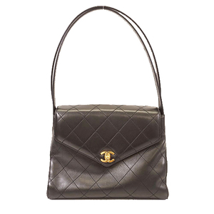 Auth Chanel Handbag Women's Leather Handbag Black