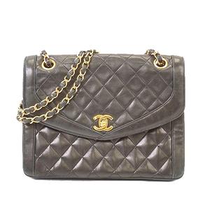 Auth Chanel Matelasse W Chain Women's Leather Shoulder Bag Black