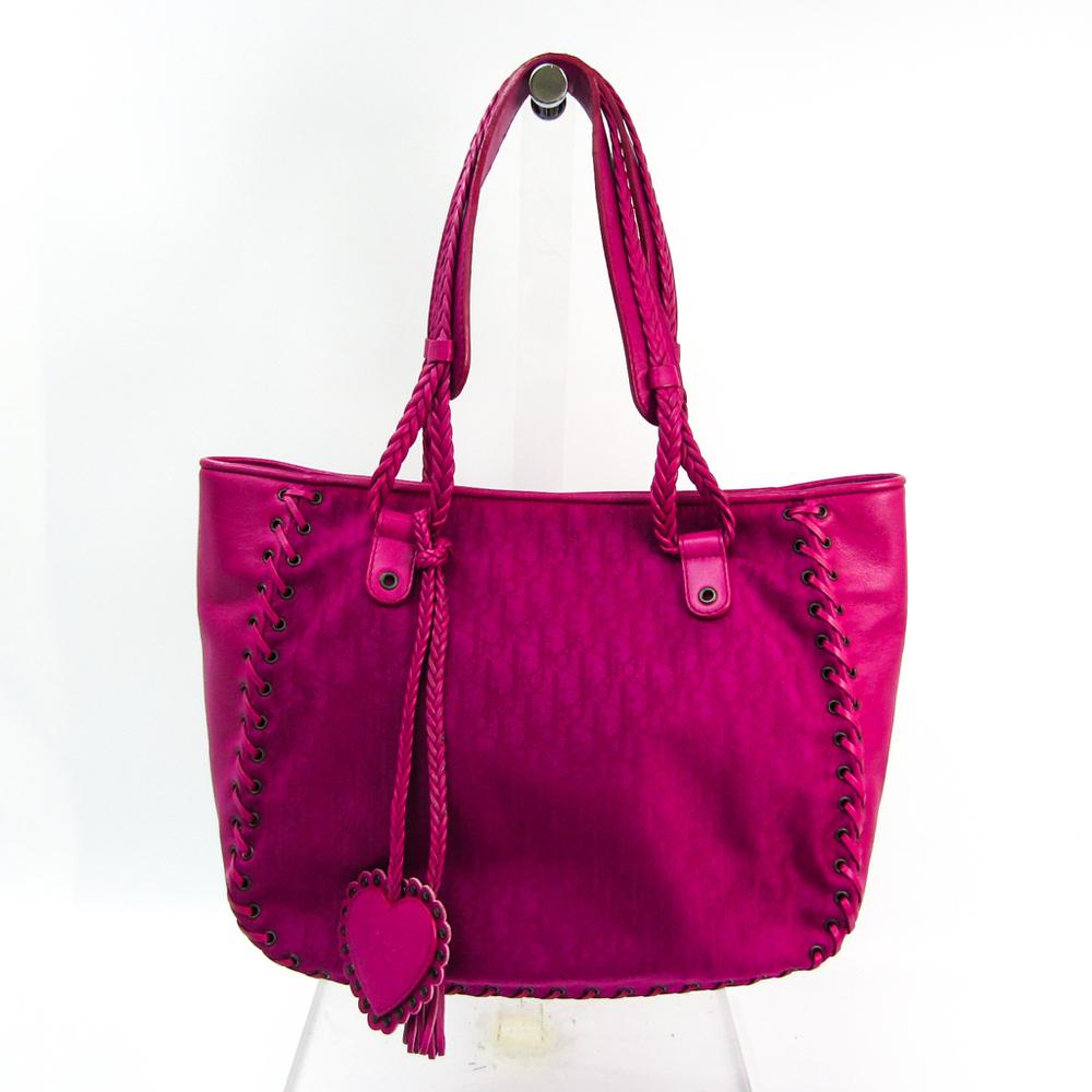 クリスチャン・ディオール(Christian Dior) トロッター エスニック レディース ナイロンキャンバス,レザー トートバッグ ピンク