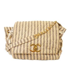 Auth Chanel Matelasse Women's Canvas Shoulder Bag Beige,Gray