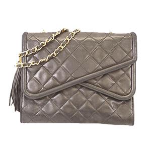 Auth Chanel Matelasse Shoulder Bag With Fringe Women's Leather Shoulder Bag Black